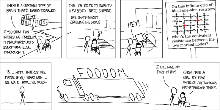 engineers beware the ultimate productivity killer nerd snipingcomic from xkcd