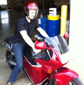 Michael On Electric Motorcycle
