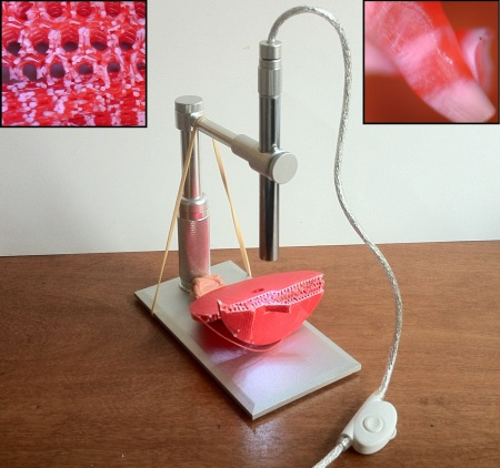 3d prints under microscope
