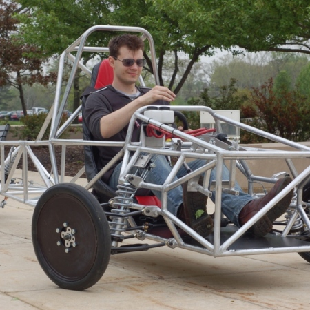 Michael in SIUE Solar Car Chassis