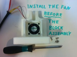 install fane before block assembly